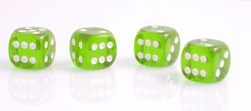 Cztery zielonego kostka do gry Zdjęcie Royalty Free