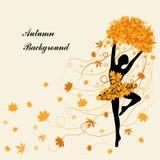 Czuła balerina trzyma liście klonowych Fotografia Royalty Free