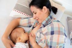 Czuła matka breastfeeding jej chłopiec obrazy royalty free