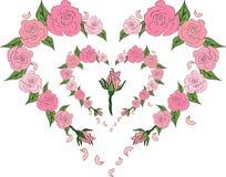 Czuły serce róże, poślubia Obraz Stock