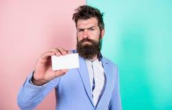 Czuje bezpłatnego kontakt ja Brodatego modnisia twarzy przedstawienia poważna karta Bankowość usługa dla biznesu Wizytówka projek zdjęcia stock