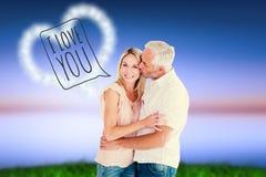 Czule mężczyzna całuje jego żony na policzku obrazy stock
