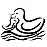 Czule macierzysta kaczka i mały kaczątko pływamy przez wa ilustracji