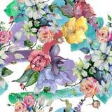 Czuli bukietów kwiaty Bezszwowy tło wzór Tkanina druku tapetowa tekstura Fotografia Royalty Free