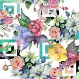 Czuli bukietów kwiaty Bezszwowy tło wzór Tkanina druku tapetowa tekstura Zdjęcie Stock