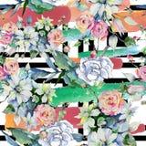 Czuli bukietów kwiaty Bezszwowy tło wzór Tkanina druku tapetowa tekstura Zdjęcie Royalty Free