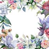 Czuli bukietów kwiaty Ramowy rabatowy ornamentu kwadrat Zdjęcie Stock