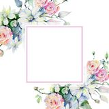 Czuli bukietów kwiaty Ramowy rabatowy ornamentu kwadrat Zdjęcie Royalty Free