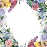 Czuli bukietów kwiaty Ramowy rabatowy ornamentu kwadrat Fotografia Royalty Free