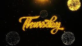 Czwartek życzy powitanie kartę, zaproszenie, świętowanie fajerwerk zapętlający
