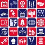 Czwarty Lipiec ikony Obrazy Royalty Free