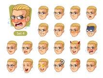 Czwarty set męskie twarzowe emocje z blondynka włosy Zdjęcie Royalty Free