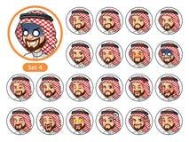 Czwarty set Saudyjscy mężczyzna postać z kreskówki projekta avatars Obraz Royalty Free