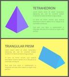 Czworościan i Trójgraniasty graniastosłup, Kolorowy sztandar royalty ilustracja