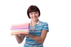czyścić mienia ręczników kobiety potomstwa obraz royalty free