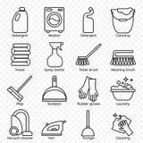 Czyścić, obmycie kreskowe ikony Pralka, gąbka, kwacz, żelazo, próżniowy cleaner, łopata i inna clining ikona, Rozkaz w domu t ilustracji