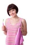 czyścić ząb jej kobiety fotografia royalty free