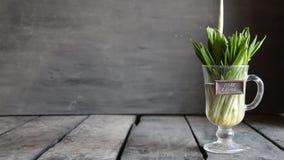 Czyści łasowania pojęcie Drewniany czosnek na rocznik etykietce i stole zbiory