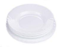 Czyści białych talerze Fotografia Royalty Free