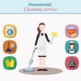 Czyści domowa usługa - młoda kobieta charakter Zdjęcia Royalty Free