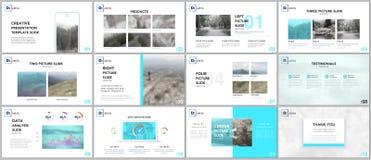 Czyści i minimalni prezentacja szablony Błękitni elementy na białym tle Broszurka okładkowy wektorowy projekt ilustracja wektor