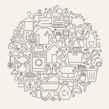 Czyści Kreskowy ikona okrąg Fotografia Stock