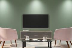 Czyści lekkiego wnętrze z pustym TV Zdjęcie Stock
