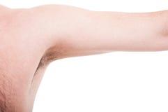 Czyści mężczyzna lub pachy na białym copyspace underarm fotografia stock