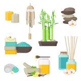Czyści naturalni produkty dla zdroju, masażu i aromatherapy, Ilustracja Wektor