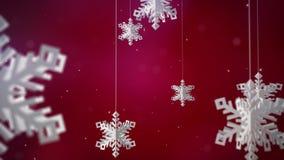 Czyści płatki śniegu 3d na czerwonym tle royalty ilustracja