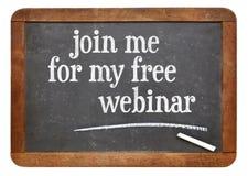 Łączy ja dla mój bezpłatny webinar - blackboard znak Zdjęcia Royalty Free