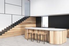Czynnościowa biała, czarna, drewniana kuchnia, schodki ilustracji