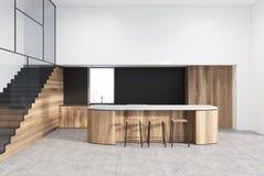 Czynnościowa biała, czarna i drewniana kuchnia, ilustracji