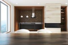 Czynnościowa biała i ciemna drewniana kuchnia, stół ilustracja wektor