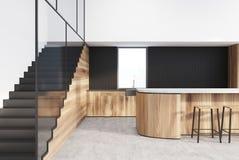 Czynnościowy biały, czarny, drewniany kuchenny wnętrze, ilustracji