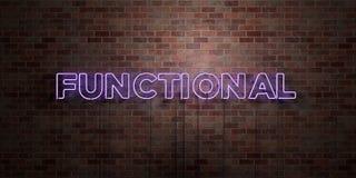 CZYNNOŚCIOWY - fluorescencyjny Neonowej tubki znak na brickwork - Frontowy widok - 3D odpłacający się królewskość bezpłatny akcyj ilustracji