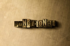 CZYNNOŚCIOWY - zakończenie grungy rocznik typeset słowo na metalu tle ilustracja wektor