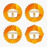 Czyrak 9 minut Kulinarna niecka znaka ikona Gulaszu jedzenie ilustracji