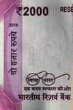 Czysta India misja - Swachh Bharat Abhiyan na dwa tysiącach rupii notatki Obraz Stock
