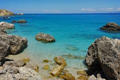 Czysta woda ażio Nikitas plaża, Lefkada, Grecja Obraz Stock