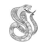 Czyste linie doodle projekt kobra wąż dla dorosłej kolorystyki, koszulka projekt, tatuaż, dziecko kolorystyki książka, anty stres Obrazy Royalty Free
