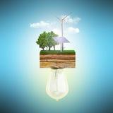 Czystej energii pojęcie żarówka łączy sprzęgło ziemia royalty ilustracja
