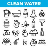 Czystej Wody linii ikony Ustalony wektor Natury opieka Opadowa Świeża czysta woda Napoju Eco ikona Cienieje kontur sieci ilustrac ilustracja wektor