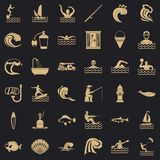 Czystość wodne ikony ustawiać, prosty styl ilustracji