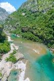 Czysty nawadnia turkusowy kolor rzeczny Moraca spływanie wśród jarów Fotografia Royalty Free