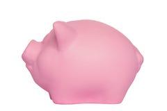 Czysty różowy świniowaty prosiątko bank na bielu fotografia stock