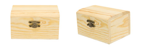Czysty rocznik Zamykająca różnica kąta pudełka skrzynki Drewniana klatka piersiowa Isolat Fotografia Royalty Free