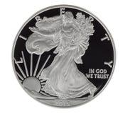 Czysty Srebny dolar w Mint Condition na Białym tle obraz royalty free