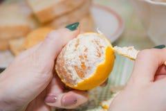 Czysty tangerine Usuwać łupę od tangerine Zdjęcie Royalty Free
