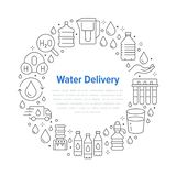 Czysty wodny wektorowy okręgu sztandar z mieszkanie linii ikonami Aqua filtr, pitny ciecz, szkło, biurowy chłodno wektor royalty ilustracja